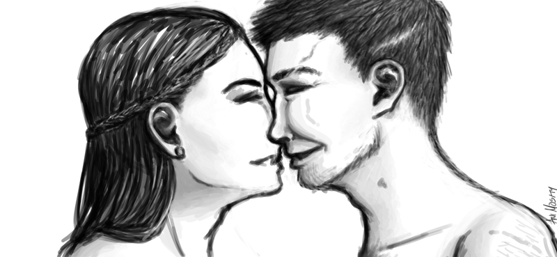 black and white digital drawing of two men smiling at each other, not quite kissing; the one on the left has long hair and is shorter, while the one on the right has short hair and a number of scars